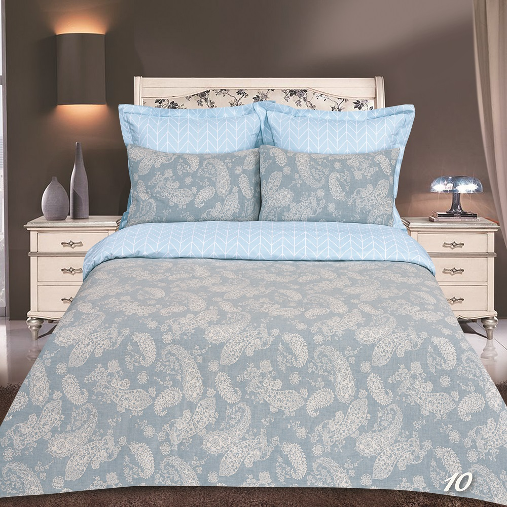 Постельное белье iv45163 голубой (сатин-жаккард) (2 спальный с Евро простынёй)