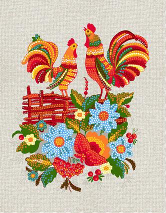 Полотенце кухонное Петушки на плетне (50х60) полотенце кухонное рыжик 50х60