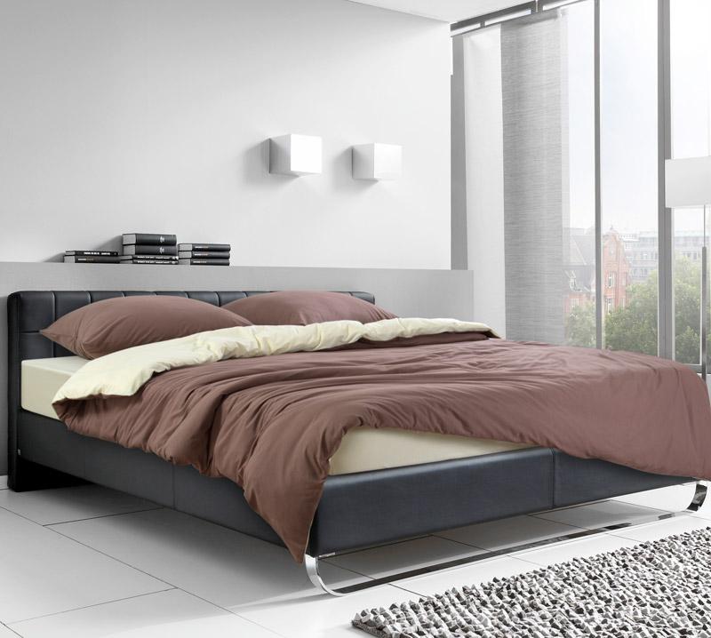 Постельное белье Кофейный крем (трикотаж) (1,5 спальный (простыня на резинке)) постельное белье хаски бязь 2 спальный простыня на резинке