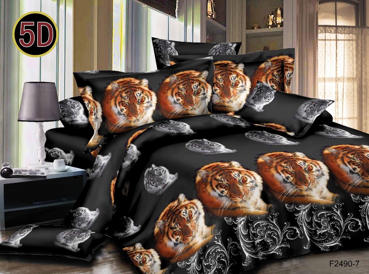 Постельное белье Тигренок 5D (полисатин) (1,5 спальный) постельное белье мегаполис 5d полисатин 1 5 спальный
