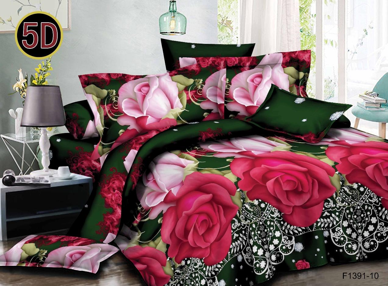 Постельное белье Розочки 5D (полисатин) (1,5 спальный) постельное белье эго комплект 1 5 спальный полисатин