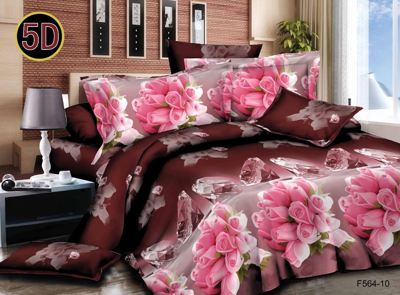 Постельное белье Букеты роз 5D (полисатин) (1,5 спальный) постельное белье сирень виола необыкновенная комплект 1 5 спальный полисатин 08464 кпб