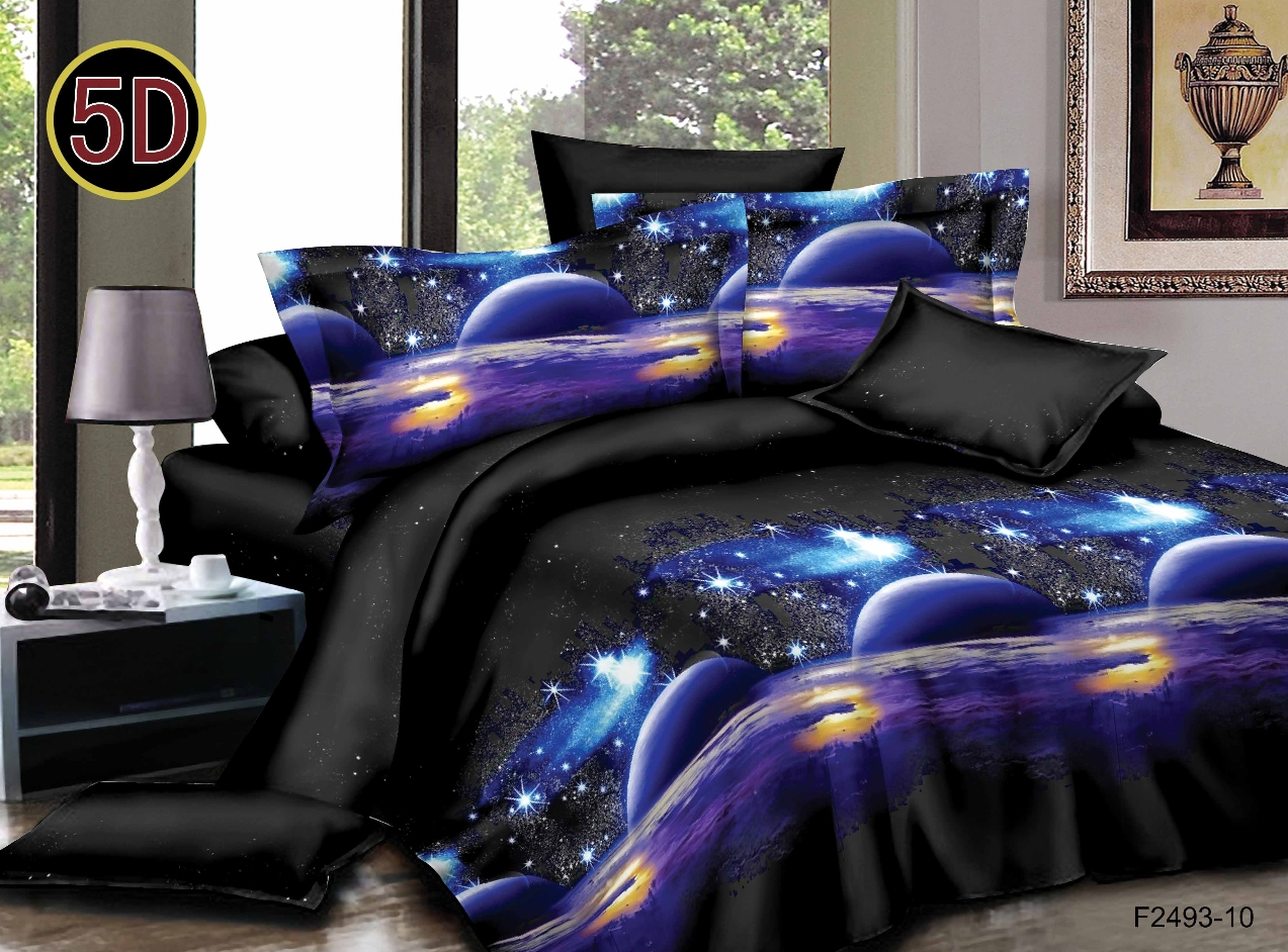 Постельное белье Космос 5D (полисатин) (1,5 спальный) постельное белье сирень виола необыкновенная комплект 1 5 спальный полисатин 08464 кпб