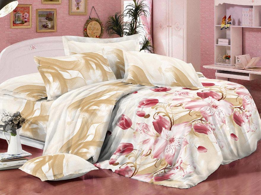 Постельное белье Цветы 3D (жатка) (1,5 спальный)