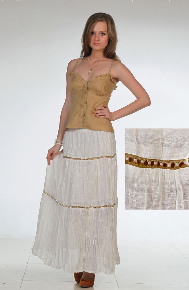 """Льняная юбка с вышивкой """"Эшли"""" (большемерка) недорго, оригинальная цена"""