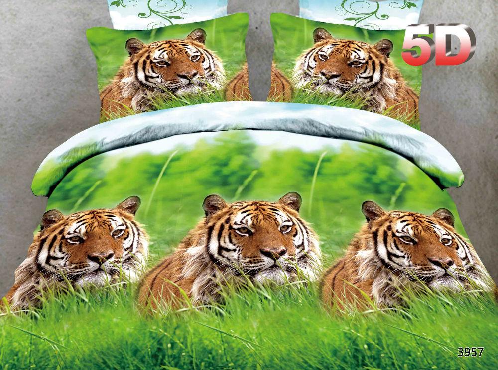 """Постельное белье """"Тигр"""" 5D (полисатин) 2 спальный"""