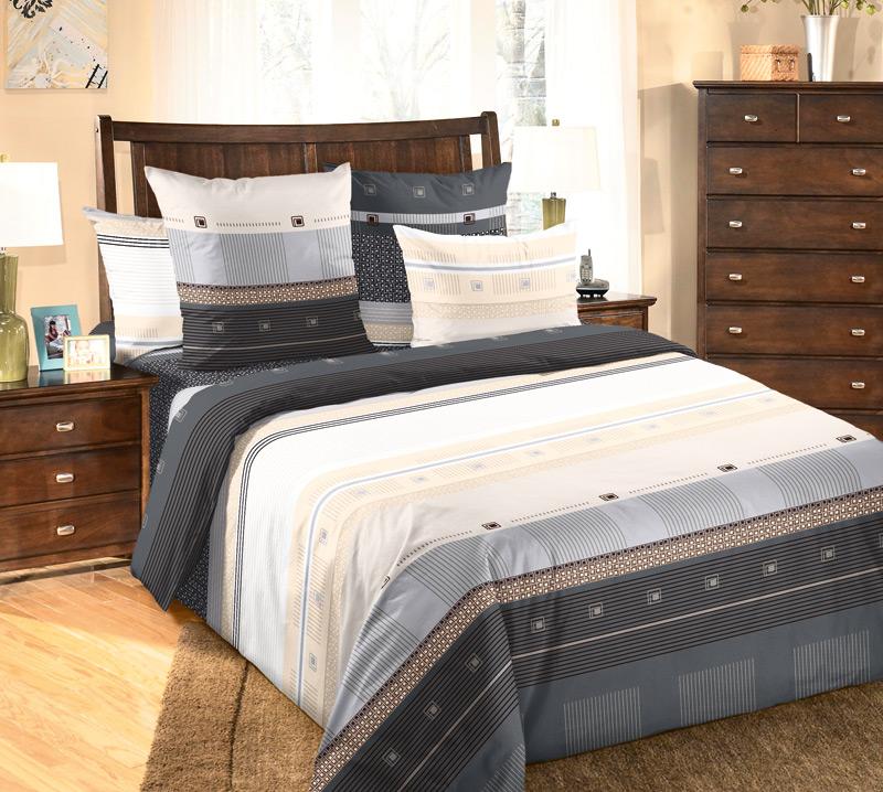 """Постельное белье """"Мишель"""" черный (перкаль) (1,5 спальный) постельное белье кпб mg 02 1 5 спальный 1100854"""