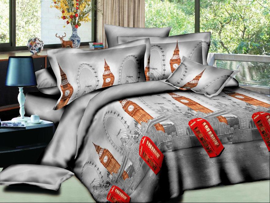 """Постельное белье """"Англия"""" 3D (жатка) 2 спальный с Евро простынёй"""