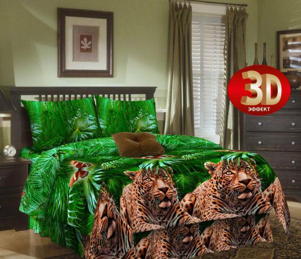 """Постельное белье """"Леопард 3D"""" (бязь) 2 спальный (простыня на резинке)"""