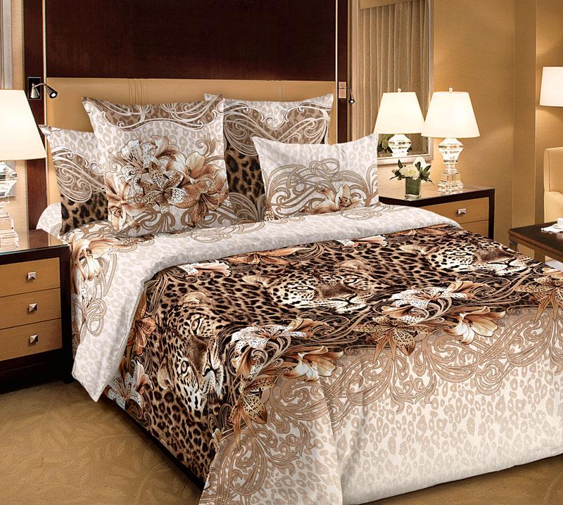 """Постельное белье """"Леопарды"""" (бязь) 2 спальный с Евро простынёй"""