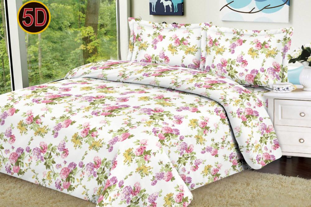 Постельное белье 'Букетик 5D (полисатин) (1,5 спальный) постельное белье cleo кпб полисатин 246 1 5 спальный