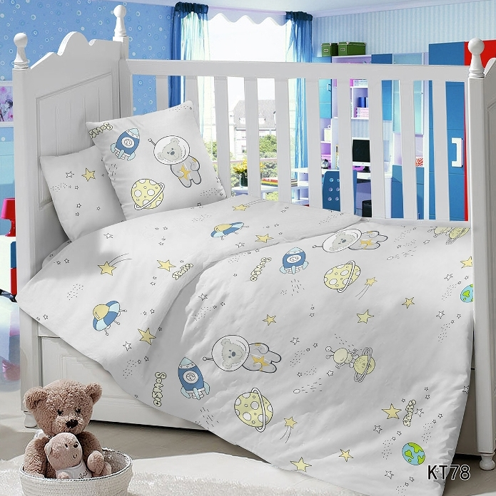 Постельное белье Космик (сатин) (Ясельный) постельное белье неон синий бязь ясельный