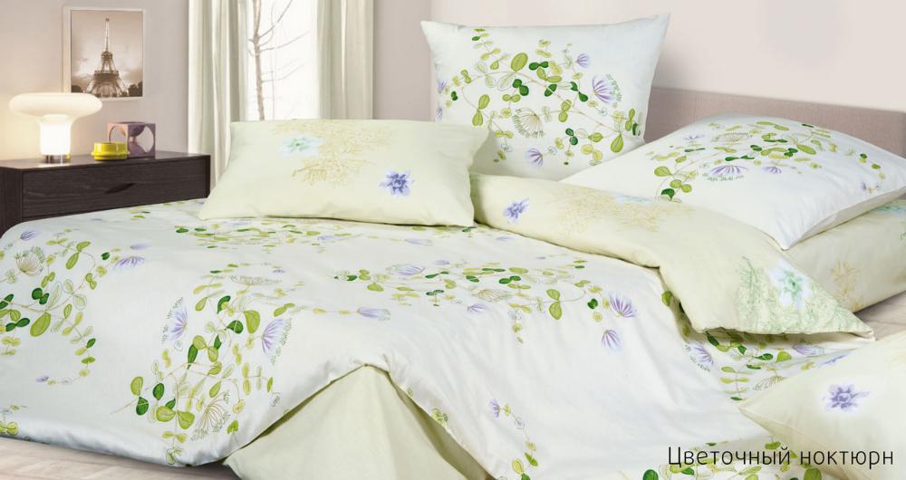 Постельное белье Цветочный Ноктюрн (сатин) (2 спальный с Евро простынёй)