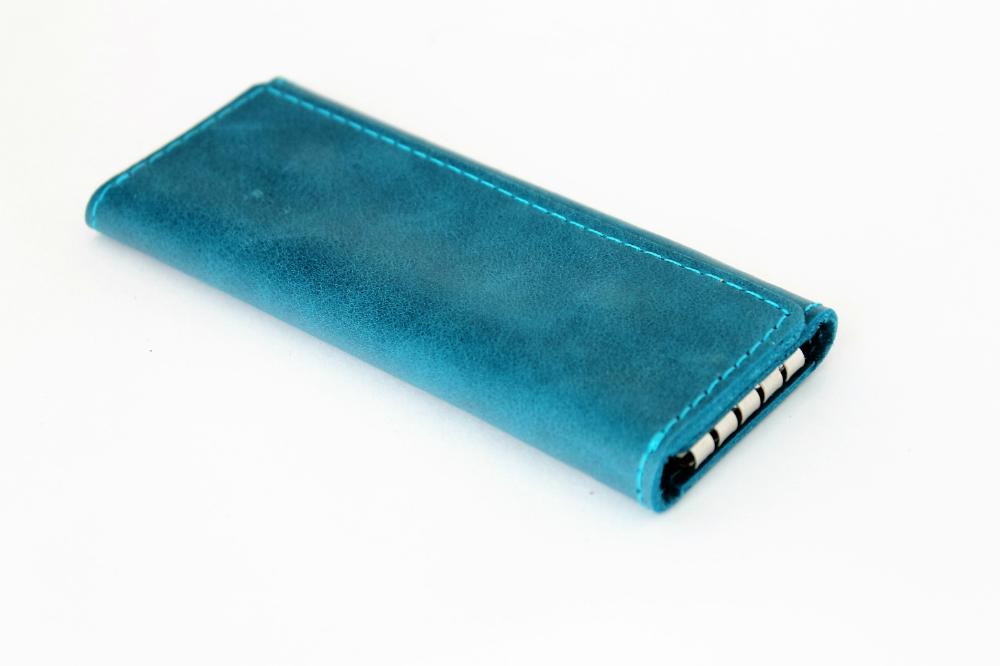 "Ключница кожаная ""Лагуна"" 4 ключа (сине-голубая) от Грандсток"