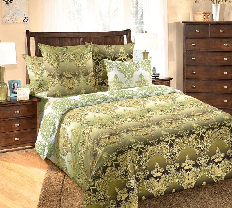 """Постельное белье """"Перелив"""" зеленый (бязь) 2 спальный с Евро простынёй"""