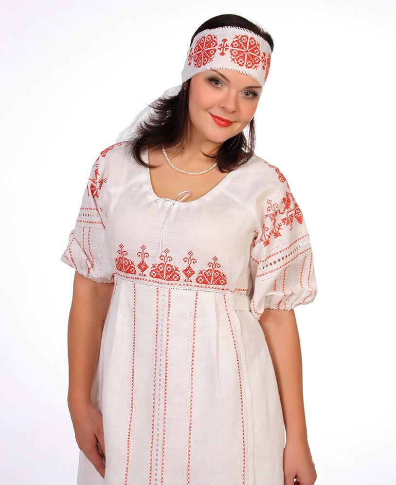 Льняное платье Россиянка