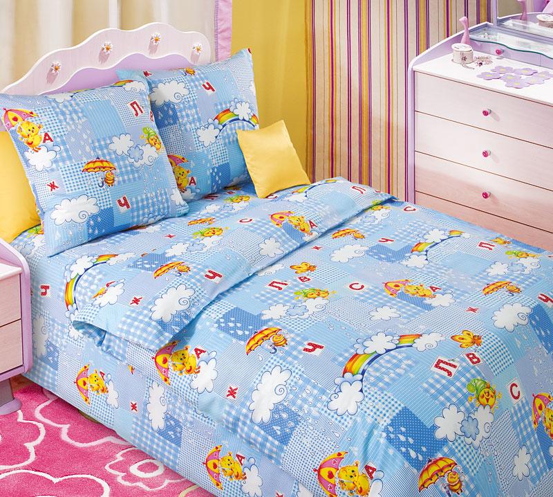 Постельное белье Радуга голубой (бязь) (1,5 спальный) постельное белье лазурит голубой бязь 1 5 спальный
