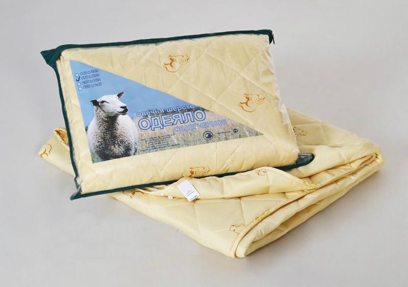 """Одеяло облегченное """"Весенний день"""" (овечья шерсть, полиэстер) 1,5 спальный (140*205)"""