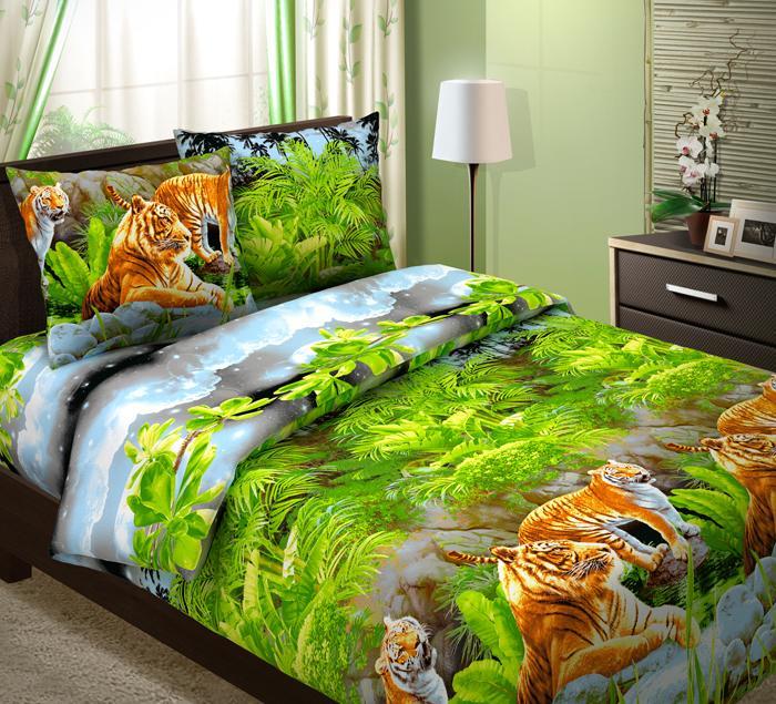 """Постельное белье """"Тигры"""" (бязь) 2 спальный"""