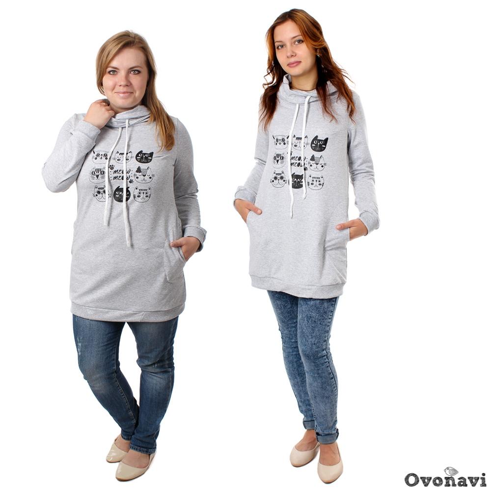 Купить Туника женская Владислава (принт: кошки), Грандсток